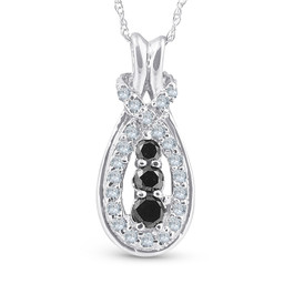 14k White Gold 1/2 Ct Black & White Knot Three Stone Diamond Pendant (G/H, I2)