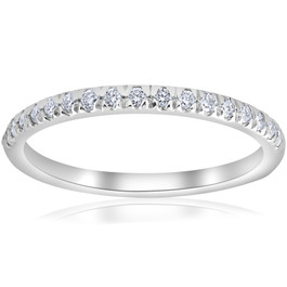 1/4ct French Pave Diamond Wedding Ring Stackable Anniversary Band 14k White Gold (H-I, I1)