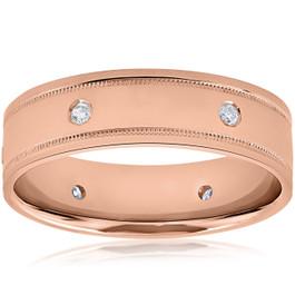 Mens 14k Rose Gold Diamond High Polished Wedding Ring 6mm Band (H/I, SI2)
