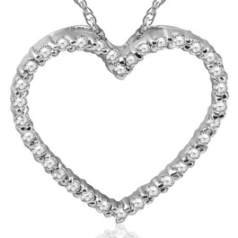 14K White Gold 1/2ct Diamond Heart Pendant Necklace (G/H, I2)