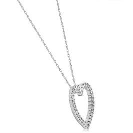 14K White Gold 1/2ct Diamond Heart Pendant Necklace (G/H, I2)