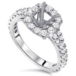 1ct Diamond Ring Cushion Halo Setting 14K White Gold Semi Mount (G/H, I1)