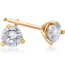 1/5ct Round Genuine Diamond Martini Studs 14K Yellow Gold (J-K, I2-I3)