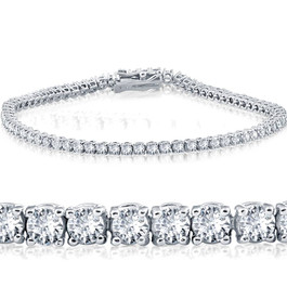 "3 Ct. Diamond 18K White Gold Round Cut Tennis Bracelet 7"" (G/H, VS)"