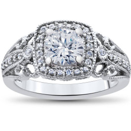 1 1/3ct Vintage Enhanced Diamond Engagement Cushion Halo Ring 14K White Gold ((G-H), SI(1)-SI(2))