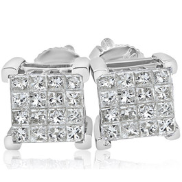 1/2ct Diamond Princess Cut Screw Back Studs Womens Earrings 10k White Gold 6.5mm (I-J, I2-I3)