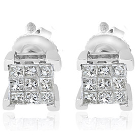 1/3ct Diamond Princess Cut Screw Back Studs Womens Earrings 10k White Gold 5.5mm (I-J, I2-I3)