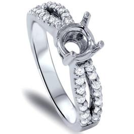 3/8ct Diamond Engagement Ring Semi Mount 14K White Gold (G/H, SI)