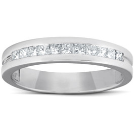 1/2ct Princess Cut Diamond Mens Wedding Ring 14K White Gold (G/H, I1-I2)