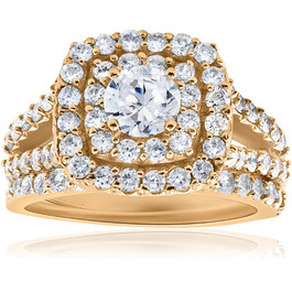 2ct Diamond Engagement Double Cushion Halo Wedding Ring Set 10k Yellow Gold (I/J, I2-I3)