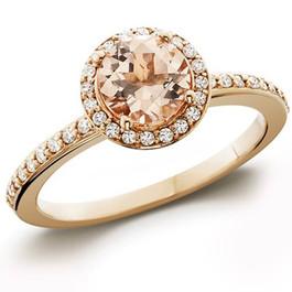 7/8ct Morganite & Diamond Halo Engagement Ring 14K Rose Gold (G/H, I1-I2)