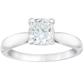 1 1/2ct Cushion Diamond Solitaire Engagement Ring 14k White Gold Enhanced ((G-H), I(1))