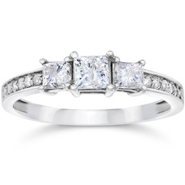 1/2ct Three Stone Princess Cut Diamond Engagement Ring 14K White Gold (H, SI2)