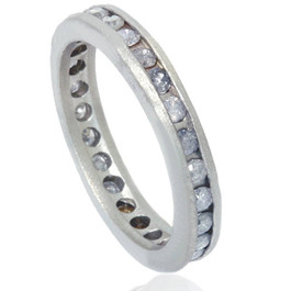 1 1/2ct Gray Diamond Channel Set Eternity Ring 14K White Gold (G/H, I3)