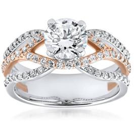 1 3/4ct Diamond Multi Row 1ct Center Engagement Ring 14k Rose Gold Enhanced ((G-H), SI(1)-SI(2))