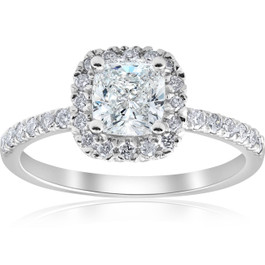2 ct Cushion Diamond Halo Engagement Ring 14k White Gold ((G-H), SI(1)-SI(2))