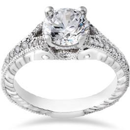 1 1/4ct Vintage Diamond Engagement Ring 1ct center Ring 14K White Gold Enhanced (G/H, I1)