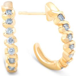 3/8ct Diamond Hoop Earrings 14K Yellow Gold (I, I2)