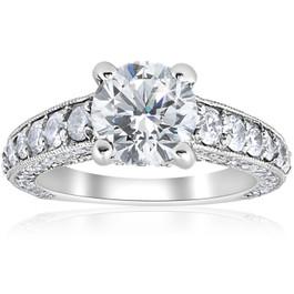 3 3/4 ct Round Diamond Heirloom Engagement Ring 14k White Gold (G/H, SI2-I1)