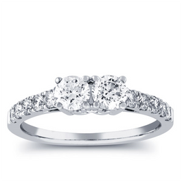 1ct Two Stone Diamond Round Cut Engagement Anniversary Ring 14k White Gold (H/I, I1-I2)