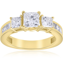 2 1/2 ct Princess Cut Diamond Engagement Ring 14k Yellow Gold (H/I, I1)
