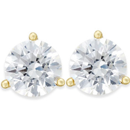 1/3ct Round Genuine Diamond Martini Studs 14K Yellow Gold (J-K, I2-I3)
