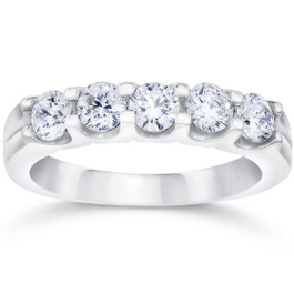 1ct Lab Created Diamond 5-Stone Wedding Womens White Gold 14K Ring (F, VS/SI)