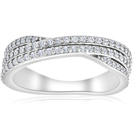 3/4ct Diamond Multi Row Wide Right Hand Ring 10k White or Yellow Gold (H/I, I1)