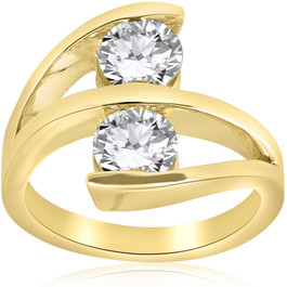 2 ct Diamond Enhanced Two Stone Forever Us Engagement Ring 14k Yellow Gold (H/I, SI(1)-SI(2))