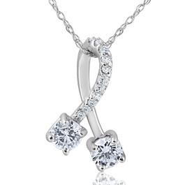 "5/8ct Two Stone Diamond Forever Us Freeform Pendant 10k White Gold 5/8"" Tall (I-J, I1-I2)"