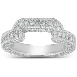 3/4ct Vintage Curved Diamond Ring Guard 14K White Gold (H/I, I1-I2)