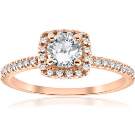 1/2CT Diamond Cushion Halo 14k Rose Gold Engagement Ring (H/I, I1-I2)