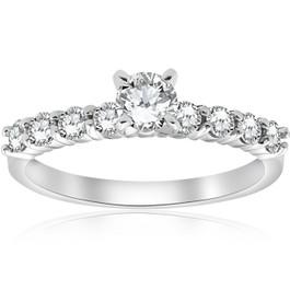 1 ct TDW Round Diamond Engagement Ring 14k White Gold (H/I, I2-I3)