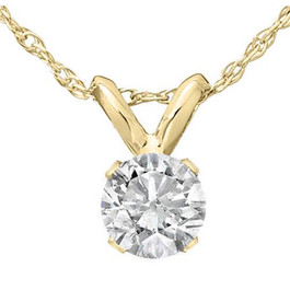 "1/3 Ct Solitaire Round Diamond Pendant Necklace 18"" 14K Yellow Gold (J-K, I2-I3)"