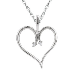 "Heart Diamond Pendant & Chain 10 Karat White Gold 1""Tall (J-K, I2-I3)"