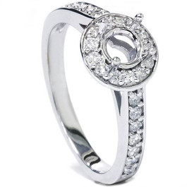1/3ct Halo Diamond Engagement Ring Setting 14K White Gold Semi Mount (G/H, SI1-SI2)