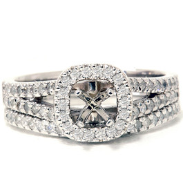 3/4ct Pave Halo Diamond Ring Set 14K White Gold (G/H, I2-I3)