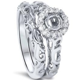 1/10ct Round Diamond Halo Vintage Engagement Ring Mount Set 950 Platinum (G/H, SI1-SI2)