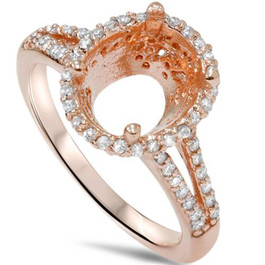 1/2ct Rose Gold Split Shank Halo Diamond Ring Setting For Oval 14K (G/H, SI2-I1)