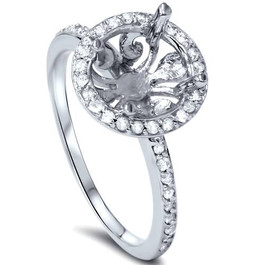 1/5ct Vintage Halo Diamond Engagement Ring Semi Mount 14K White Gold (G/H, SI2-I1)