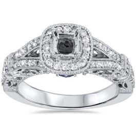 3/4ct Vintage Halo Princess Cut Diamond Engagement Ring Setting 14K White Gold (G/H, VS2)