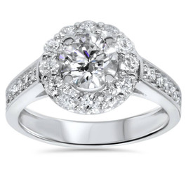 2ct Diamond Halo Engagement Ring Setting 14K White Gold ((G-H), SI(1)-SI(2))