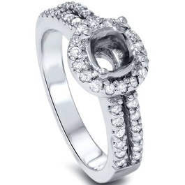 1/2ct Halo Double Row Engagement Ring Setting 14K White Gold (G/H, I1-I2)