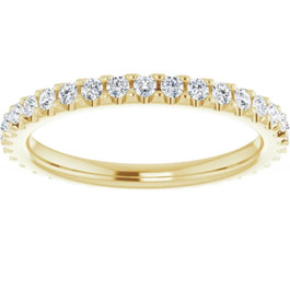 3/8ct Diamond Eternity Ring 14k Yellow Gold Womens Stackable Wedding Band (G/H, I1-I2)
