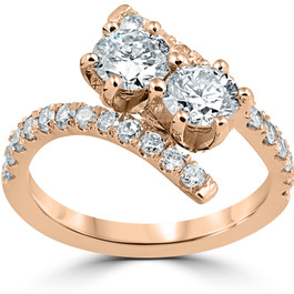 1 cttw Diamond 2 Stone Forever Us Engagement Anniversary Ring 14k Rose Gold (I/J, I1-I2)