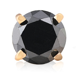 3/4ct Black Diamond Single Stud Earring 14K Yellow Gold (Black, I2)