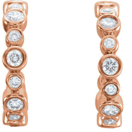 "3/8CT Diamond Vintage Hoops 14k Rose Gold 1/2"" tall (G/H, I2)"