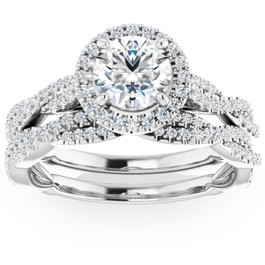 1 1/2ct Diamond Halo Vine Engagement Wedding Ring Set 14k White Gold ((G-H), SI(1)-SI(2))
