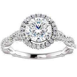 1 1/3ct Diamond Halo Interwoven Engagement Ring 14k White Gold ((G-H), SI(1)-SI(2))