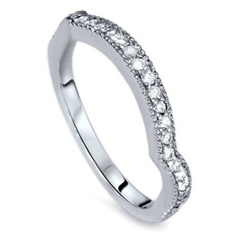 1/4ct Curved Diamond Wedding Ring 14K White Gold (H/I, I2-I3)